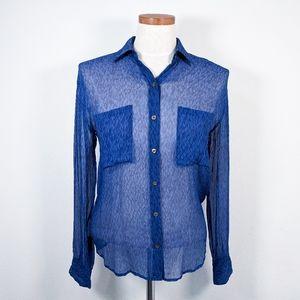 Club Monaco Sheer Button Up Silk Top Blue Size XS